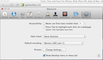 Safari Preferences advanced menu