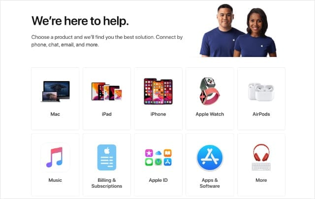 Apple Get Support website home page