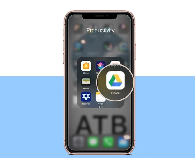 iPhone with Google Drive app