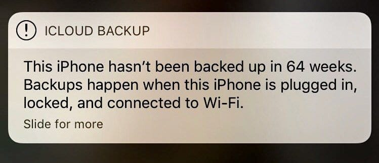 iOS: iCloud backup message won't go away; fix
