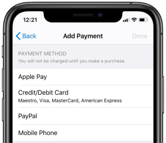 Payment methods for Apple ID account on iPhone