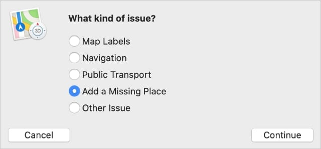 Report a problem options in Mac Apple Maps