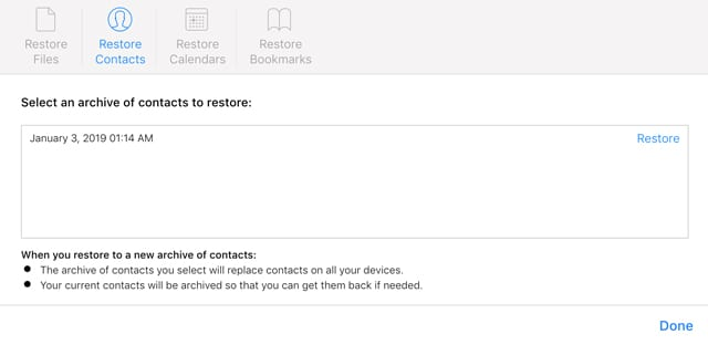 restore contacts from iCloud.com backup and contacts