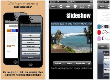 iOS web page creator