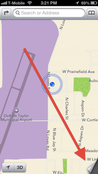 Apple Maps Tap Page Curl