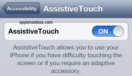 turn on assistive touch accessibility