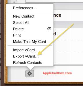 iCloud contacts export