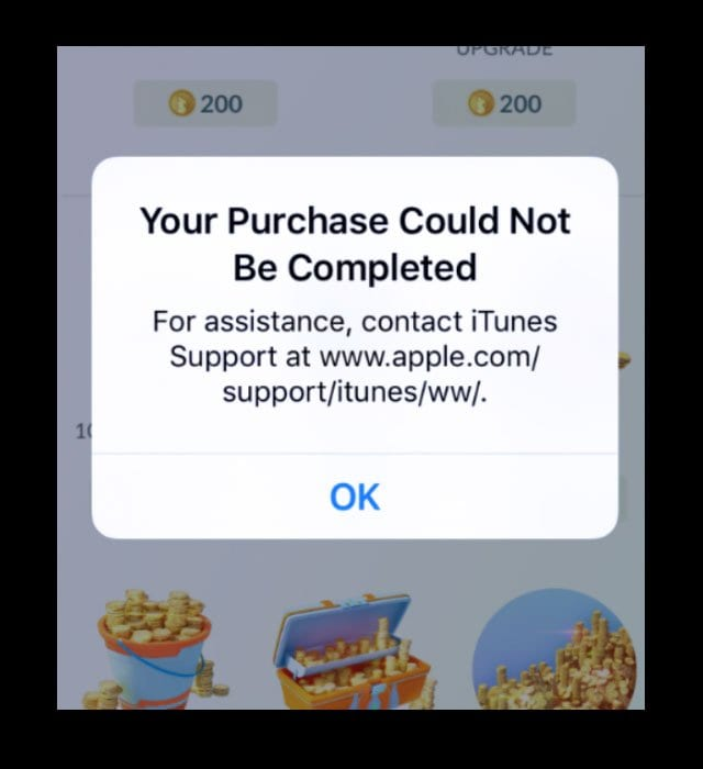 """Please contact iTunes support to complete this transaction"" error fix"