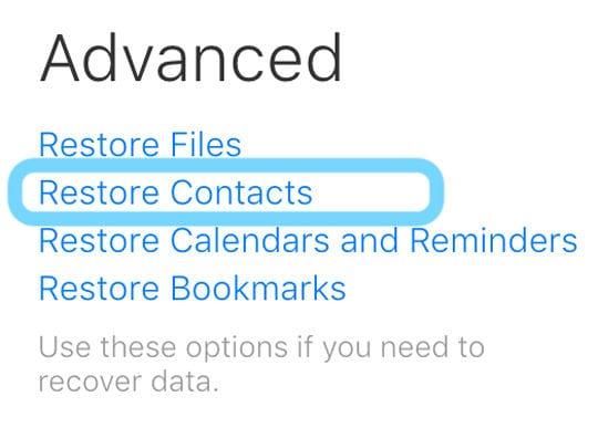 restore contacts using iCloud.com account