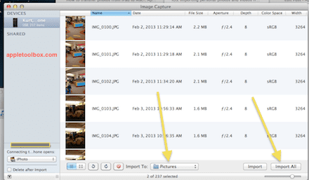 image capture import photos and videos
