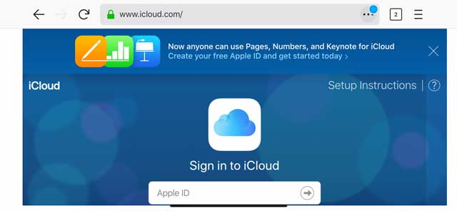 iCloud.com in landscape view on iPhone with Desktop site mode