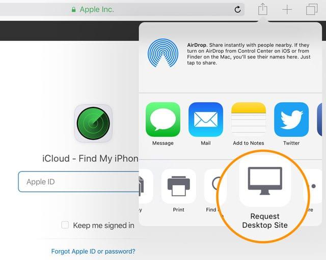 request desktop site on Safari for older iOS versions