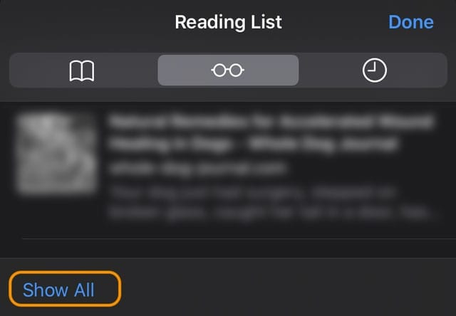 Show all of Safari's reading list items on iPhone, iPad, or iPod touch