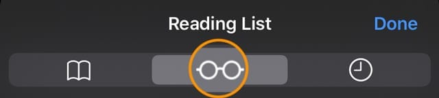 reading list icon in Safari for iPhone, iPad, and iPod touchh
