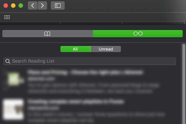 show all in Mac's Safari reading list macOS
