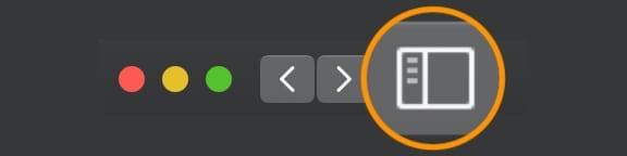 Safari's sidebar button on a Mac with macOS