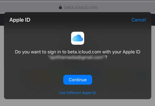 iCloud.com sign in with Apple pop-up