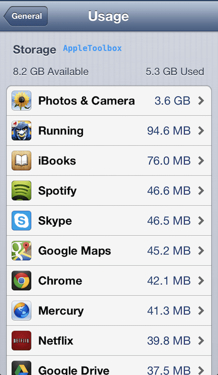 Apps usage storage
