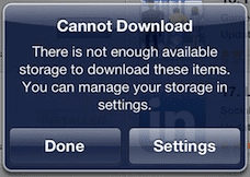 Cannot download: There is not enough available storage to download