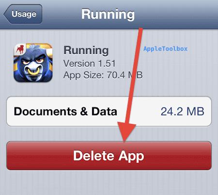 delete an app