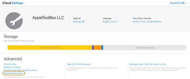 restore Safari bookmarks using iCloud website