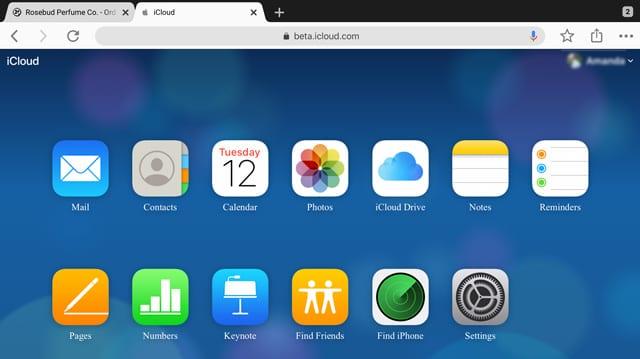 full iCloud.com desktop version using iPadOS and iPad