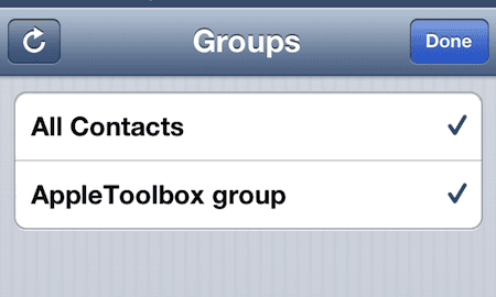 iOS group contacts