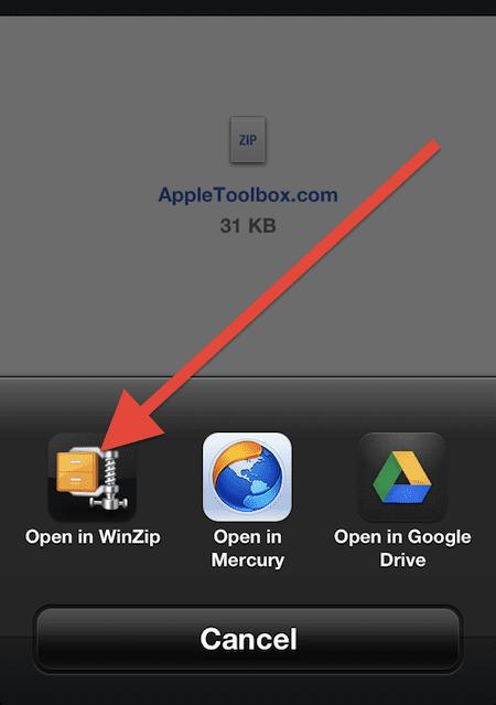 open zip iphone