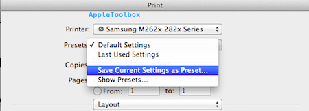 save as presets