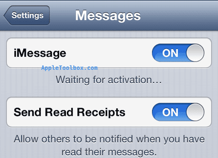 iMessages and FaceTime waiting for activation