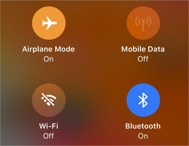 Airplane mode turned on from iPhone Control Center