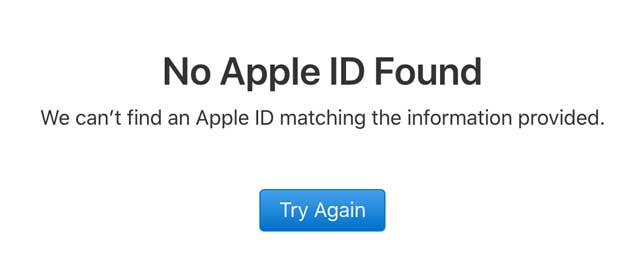no Apple ID found in Apple's checker tool