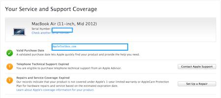 AppleCare status