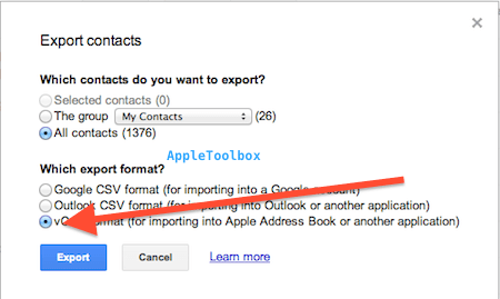 export contacts to iCloud