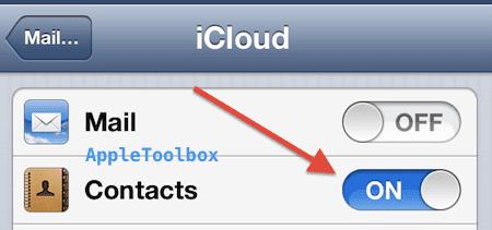 iOS icloud set on