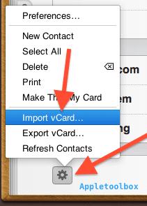 import icloud vcard
