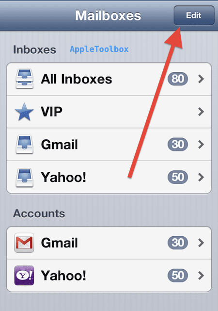 Mailbox edit button