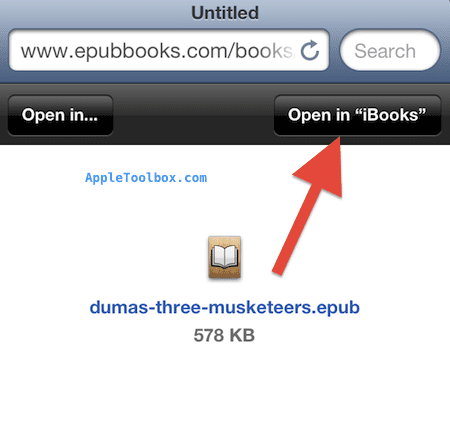 open epub in ibooks