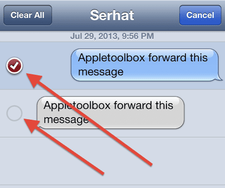select messages to forward