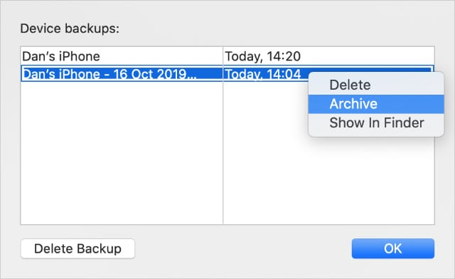 Archive iPhone backup option in Finder on macOS Catalina