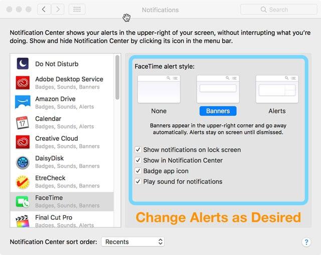 facetime notification settings on Mac