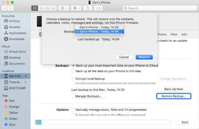 Restore Archived Older iPhone Backups in Finder