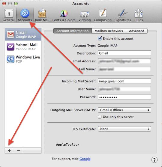 OS X mail set up