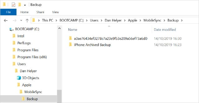 Windows iPhone backup location in File Explorer2