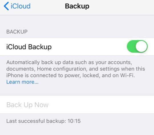 Back Up Now Grey in iCloud Settings iPhone