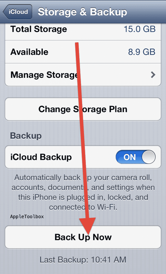 iCloud-back up now iPhone