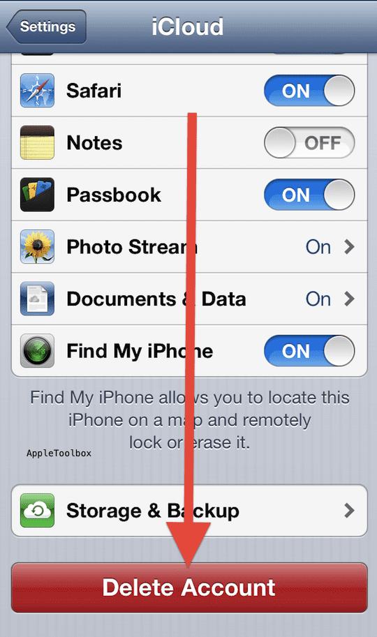 iCloud delete account iPhone