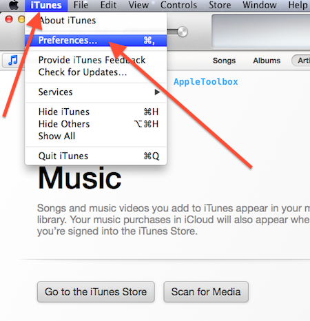 iTunes devices preferences