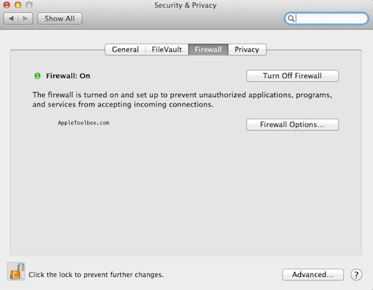 Firewall Mac OS X
