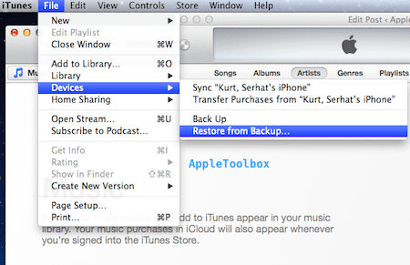 iTunes restore from backup
